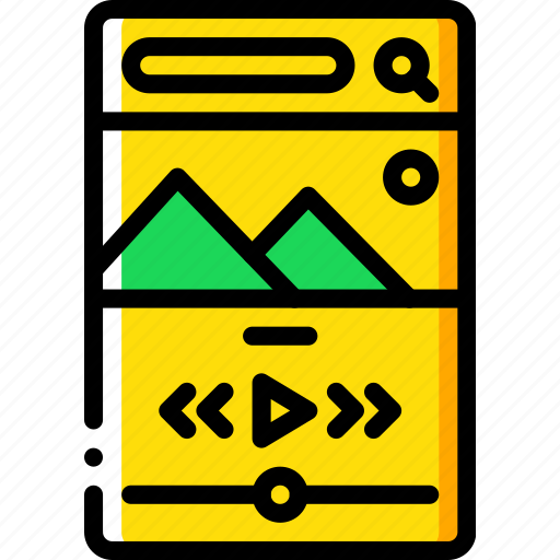 app, experience, mobile, smartphone, user, ux, video icon