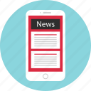 mobile, mockup, news, newsletter, read, wireframe icon