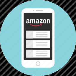 amazon, mobile, mockup, shop, shopping, wireframe icon