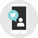 chat, line, mobile, mockup, tweet, twitter, wireframe icon