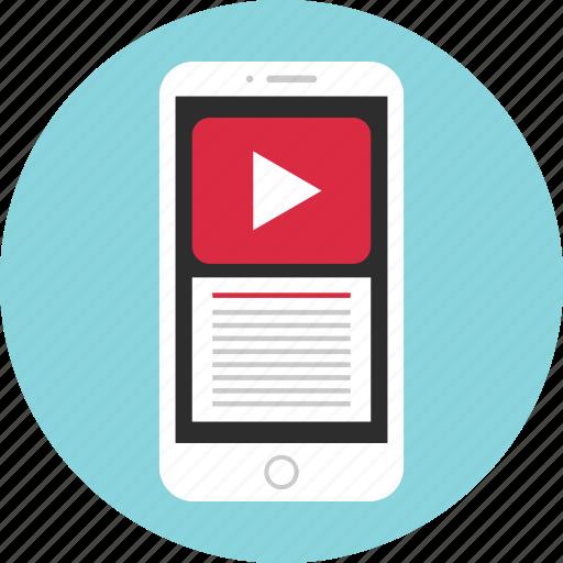 mobile, mockup, play, tube, wireframe, you, youtube icon