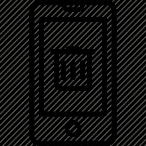 delete, device, iphone, mobile, remove, smartphone, trashcan icon