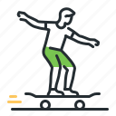 activity, longboard, skateboard, transport icon
