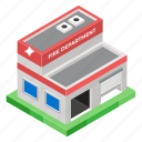 architecture, building, exterior, fire department, fire station, rescue department icon