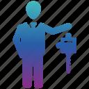 business, business icon, businessman, key, seo icon