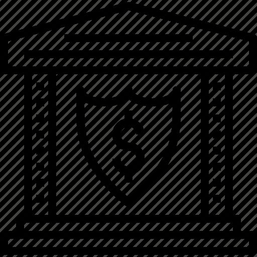 bank, business, dollar, insurance, money, safe, shield icon