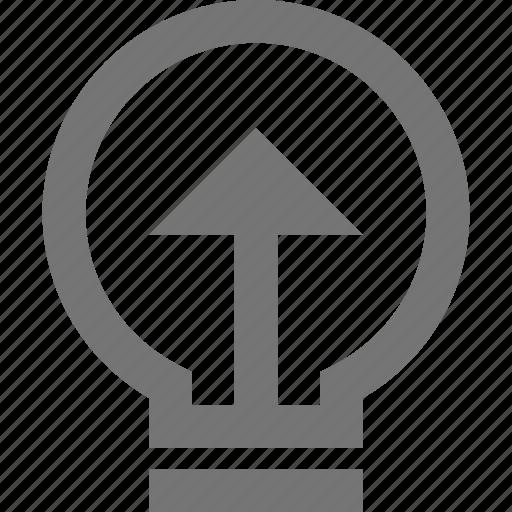 arrow, brainstorming, bulb, business, development, idea, material icon