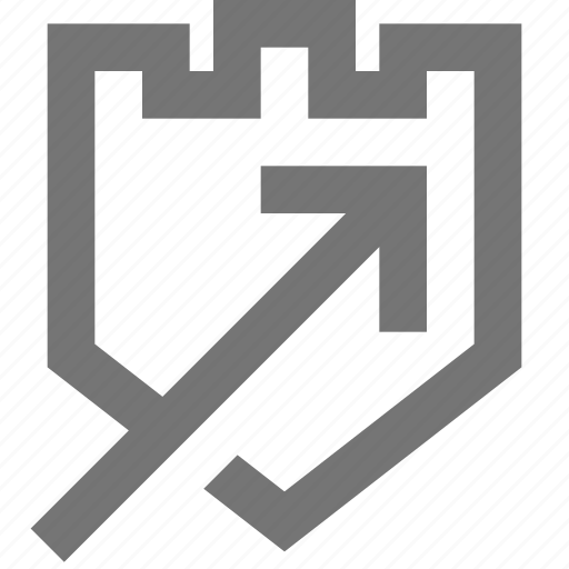 arrow, business, firewall, material, protection, security, update icon