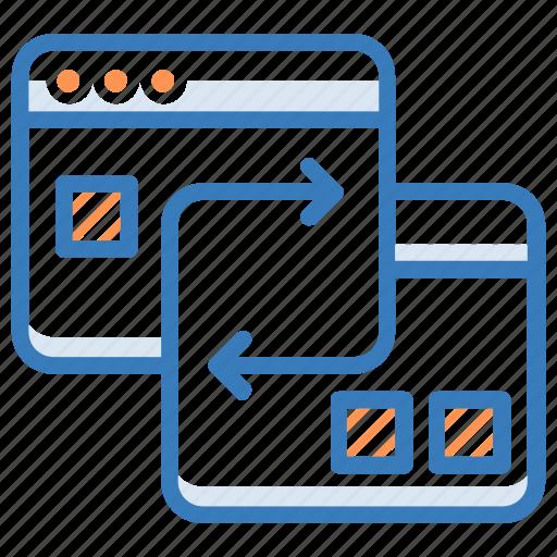 arrows, data exchanging, data sharing, data transferring, data travelling icon