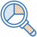 analytics, business analysis, infographic, magnifier, search graph icon