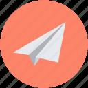 paper aeroplane, paper airplane, paper dart, paper glider, paper plane icon