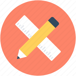 geometrical tools, measuring, pencil, ruler, scale icon