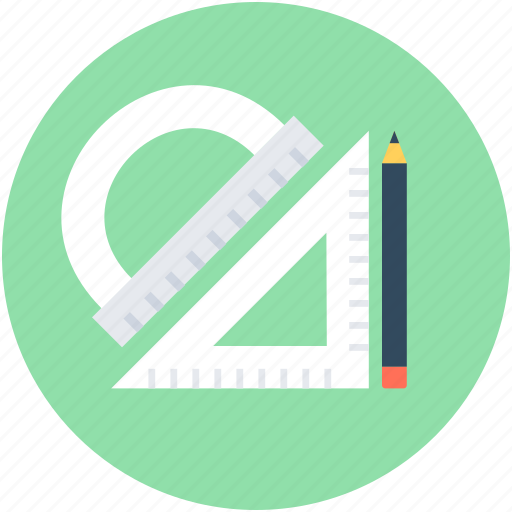 drafting tool, geometry, pencil, protractor, set square icon
