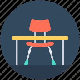 desk, furniture, office desk, student desk, study desk icon