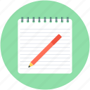 notepad, pen, sheet, signature, writing icon
