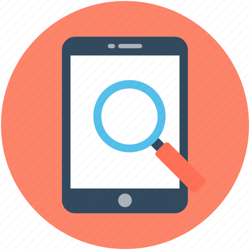 ipad, magnifier, mobile scanning, mobile search, smartphone icon