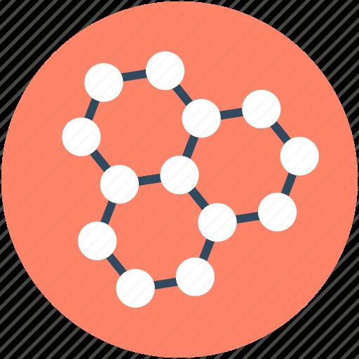 atom, electron, hexagons, molecule, science icon