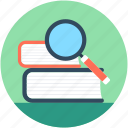 e book, find book, library, magnifier, search book icon