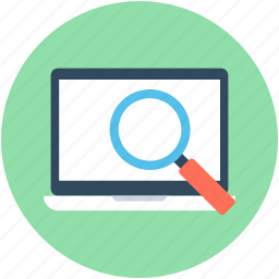laptop scanning, loupe, magnifier, magnifying lens, search laptop icon