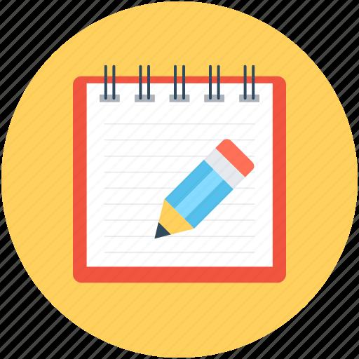 notepad, pen, sheet, signature, writing icon
