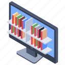 e library, electronic library, digital library, library software, online bookshelf, online library