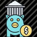 bank, finance, piggy bank, savings icon