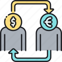 currency conversion, currency exchange, dollar to euro, money exchange, usd to eur icon