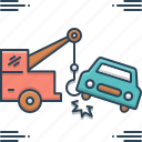 accident, breakdown, car, car towing, tow, towing icon