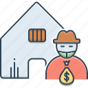 building, robber, robbery, theft, theft vandalism, vandalism icon