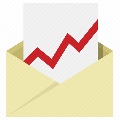 analytics, chart, email, envelop, mail, results icon