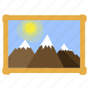 baget, illustration, mountains, picture, sky, sun icon