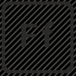 alphabet, english, f, latin, letter icon