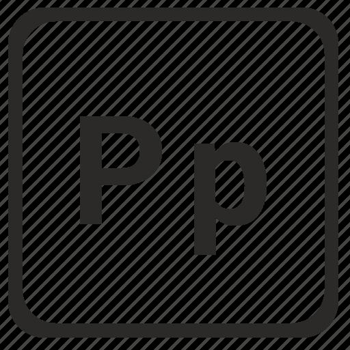 alphabet, english, latin, letter, p icon