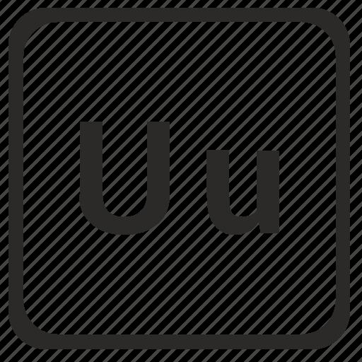alphabet, english, latin, letter, u icon