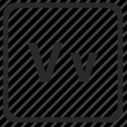 alphabet, english, latin, letter, v icon
