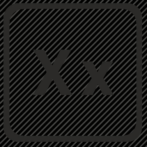 alphabet, english, latin, letter, x icon