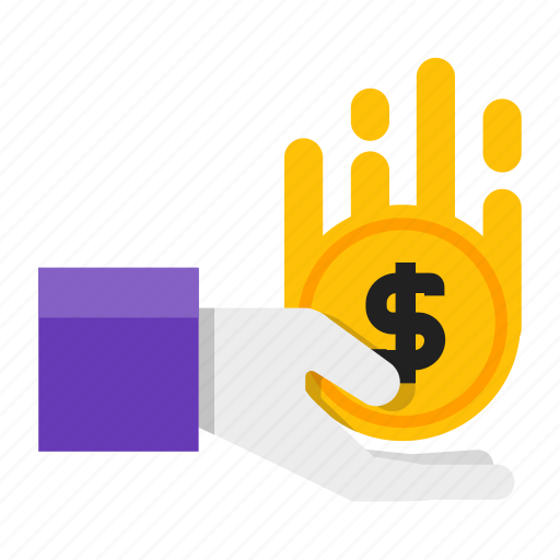 coin, donation, hand, money icon