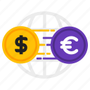 dollar, euro, exchange, money icon
