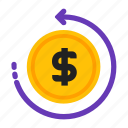 back, flow, money, refund icon