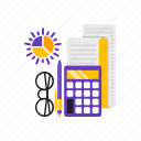 accouting, calculator, chart, pen icon