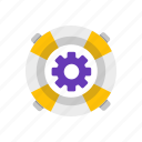 customer, gear, service, support icon