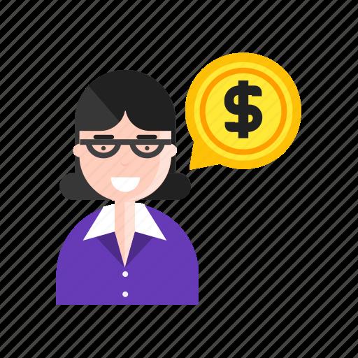 cost, employee, money, woman icon