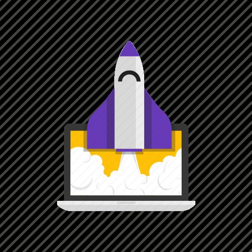 laptop, pc, rocket, startup icon
