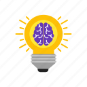 brain, bulb, knowledge, of, power icon