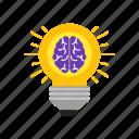 brain, bulb, knowledge, of, power icon