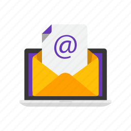 e, envelope, laptop, mail icon