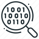 code, magnifier, magnifying, search, technology icon