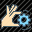 cogwheel, gear, gearwheel, hand, technology