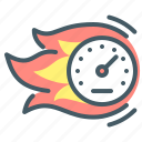 speed, response, performance, time, speedometer, response time icon
