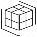 cube, cubic, dice, dimension, virtual icon